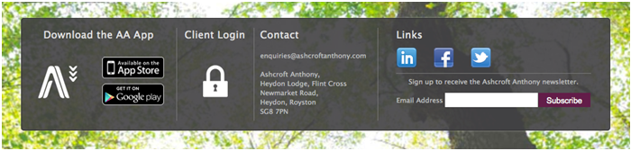Ashcroft Anthony Chartered Accountnats website footer